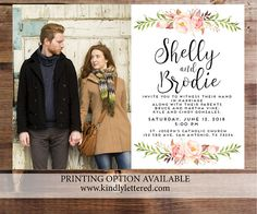 Wedding Invitation-Digital File-Photo Card-Digital