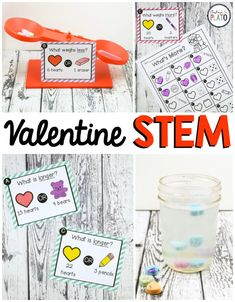 TheseValentine's Day STEM Challengesare a must-try! Use a simple box of candy hearts to dive into weight, length AND science. Grab your pack in our shop or on Teachers Pay Teachers! Peek Inside The math and science Valentine's Day activities are perfect to use in STEM centers, math stations or as early finisher tasks. Students will compare 16 different combinations of candy hearts and common