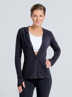 Sleek JacketBlack with Black Mesh / XS Fantasy Outfits, Running Jacket, Black Mesh, Get The Look, Hooded Jacket, Fashion Outfits, Jackets, Bags, Collection