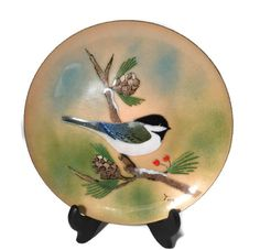 ✯♪ #Vintage Chickadee Plate - Christmas Decor, Signed Enamel Over Metal, Bovano of http://etsy.me/2evuDyo