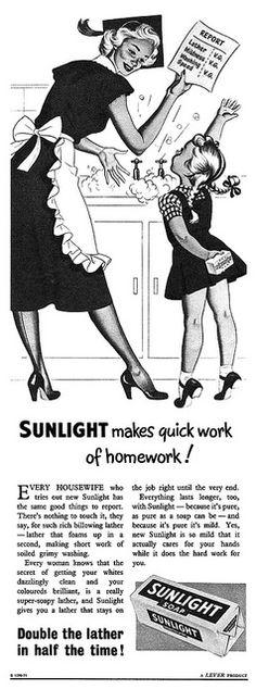 Sunlight Soap advertisement, November 1952. #vintage #1950s #homemaker