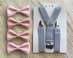Grey & Blush Suspender And Bow tie For Boys Ring Bearer Suspenders Grey Wedding Suspenders Ring Bearer Outfit Boy Wedding Outfit