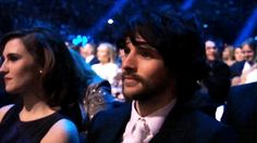 Colin is sitting beside Ruth Bradley at the NTA 2016