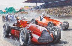 Gouache de Carlo Demand - Alberto Ascari - Lancia D50 - Grand prix de Monaco (1955 )Heritage Auctions