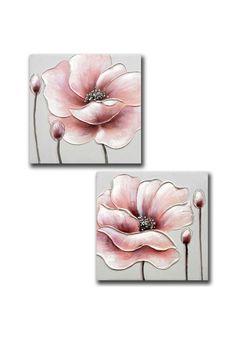 Pareja de cuadros en lienzo, flor color rosa decorado con pedrería en el centro.  Medidas: 40 cm de alto x 40 cm de ancho x 2.5 cm de fondo.  Colócalo en el pasillo, subida de escalera, salón, sala de estar, comercio...   ENVIO EN 24H, otros modelos en nuestra pagina web. Acrylic Painting Flowers, Acrylic Art, Watercolor Paintings, Small Canvas Art, Canvas Wall Art, Hot Glue Art, Glitter Art, Art N Craft, Ceramic Painting