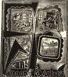 Ex libris Vincenc Paulus 1922 by Josef Vachal Ex Libris, Book Art, Art Deco, Artist, Plates, Books, Printmaking, Drawings, Licence Plates