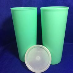Something green for St Patrick's Day Vintage Tupperware 2 Green Tumblers #107 16 Oz With Lid
