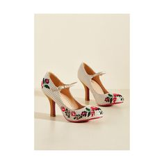 Banned Sass With Flying Colors Heel (£56) ❤ liked on Polyvore featuring shoes, pumps, cream, heels, mary jane heel, cream shoes, decorating shoes, dot shoes, polka dot pumps and mary jane heel shoes