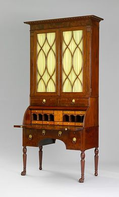 Cylinder Desk and Bookcase  Attributed to the Workshop of Duncan Phyfe  (1770–1854)  Date: 1815–20 Mahogany, mahogany veneer, satinwood, gilded gesso with yellow poplar, white pine