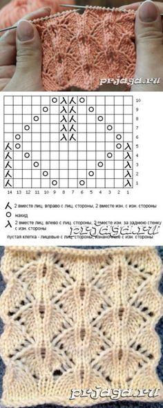 """""""lace knitting pattern g Lace Knitting Patterns, Knitting Stiches, Afghan Crochet Patterns, Knitting Charts, Crochet Stitches, Baby Knitting, Stitch Patterns, Knitting Ideas, Baby Patterns"""