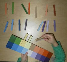 Colour clothespins, matching shades, using paint chip cards - Repinned by Lessonpix.com