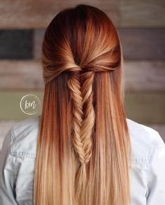 Pumpkin spice latte Balayage Cooper Balayage  Fall Balayage  Fish tail braid