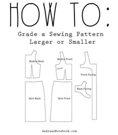 17. Grade a pattern larger or smaller to fit.