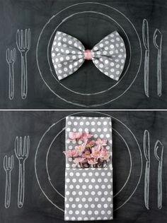 Wedding napkin folding ideas. I like the bowtie look!