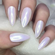 Mermaid pigment white opal stiletto nails ($12) ❤ liked on Polyvore featuring beauty products, nail care and nail treatments