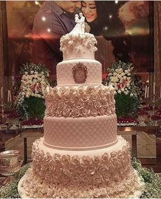 Beautiful Wedding Cake! Light Pink with lots of icing Roses. Love the detailing and the different textures of each layer.