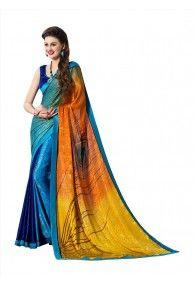 Sasural Women Multi Color Crape Designer Saree