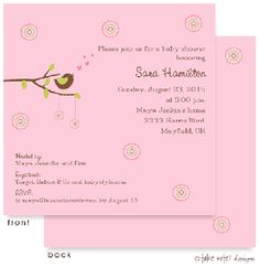 Baby Showers : Cheeping Hearts Pink Invitation