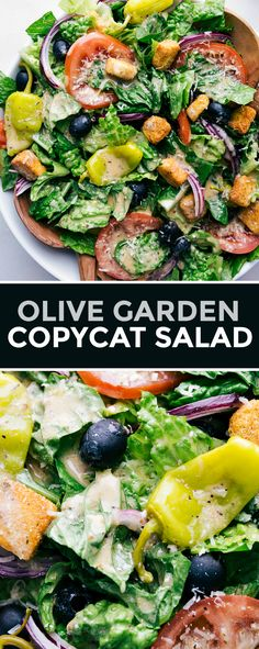 Olive Garden Salad complete with juicy sweet tomatoes, tangy pepperoncini peppers, savory black olives, salty Parmesan, Easy Salads, Healthy Salads, Summer Salads, Salads For Dinner, Easy Healthy Appetizers, Healthy Food, Savory Salads, Healthy Chicken, Best Salad Recipes