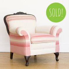 Victorian arm chair covered with vintage plaid blanket upholstery --  Posh Pink Armchair