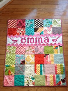 Baby quilt by @Cheri Edwards Edwards Edwards Edwards Edwards Edwards Edwards Edwards Edwards Edwards Edwards Edwards Reimann. Very cute idea, love the ric rac trim.