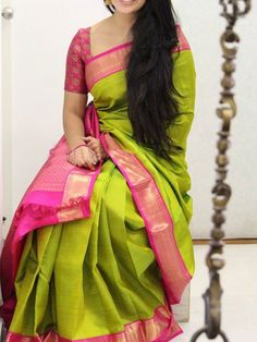 Poly silk green saree with matching color silk blouse it contained of printed the blouse which can be customized up to bust size 44 this unstitch saree length 6 3 mtr including 0 80 mtr blouse Soft Silk Sarees, Cotton Saree, Drape Sarees, Silk Saree Kanchipuram, Kanjivaram Sarees, Wedding Silk Saree, Bridal Sarees, Silk Saree Blouse Designs, Blouse Patterns