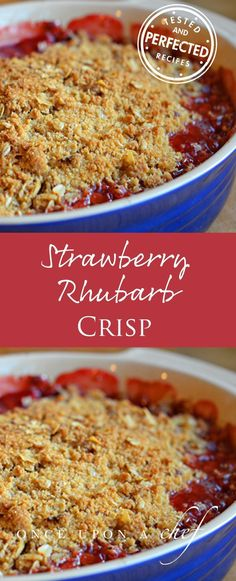 One of the easiest and best desserts I know. Tart rhubarb and sweet strawberries bubbling away in their own juices beneath a crunchy oat streusel topping. It�s perfect for a spring night, served warm out of the oven with a scoop of vanilla ice cream. Left