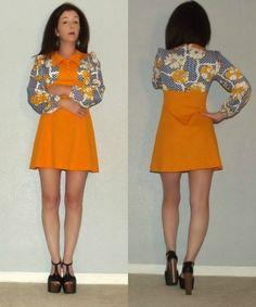 XS S Vtg 70s MOD Orange POLKA Dot FLORAL Colorblock SPACE Age TWIGGY Mini DRESS #PATRICIAFAIR