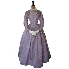 1845 Romantic Period Mauve Damask Dress, antique dress, antique gown, Victorian Dress