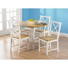 Virginia Round Drop Leaf 5 Piece Dining Set, White and Natural - $269