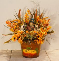 Fall Scarecrow Pumpkin Orange Sunflower Floral by PamsDeZines