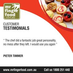 After all your stressful days and sleepless nights, you definitely deserve a lovely and successful party!  Hire www.Mrfingerfood.com.au and let us work together! For enquiries and bookings, call party planner Nancy at 1300-369-058 (FREE CALL), Mondays to Sunday, 8AM-8PM. #cateringservices #cateringAustraliawide #partycatering #eventcatering #professionalcatering