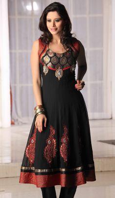 Black Brocade Faux Georgette Embroidered Salwar kameez