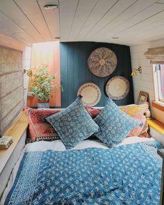 Small Space Living, Small Spaces, Living Spaces, Houseboat Living, Houseboat Ideas, Canal Boat Interior, Barge Interior, Tiny House Talk, Van Conversion Interior
