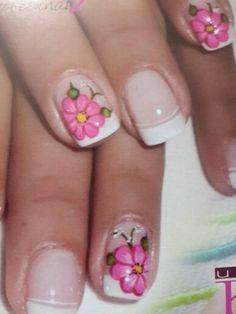Flor rosada Blogger Themes, Perfect Nails, French Nails, Nail Tech, Beauty Nails, Pretty Nails, Iris, Nail Designs, Nail Art