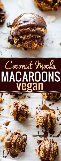 """Vegan Macaroons made EASY and QUICK! These Mocha Coconut Vegan Macaroons """"coco-roons"""" are flavored with dark chocolate, espresso, and bourbon vanilla. A healthy cookie that you will love! Made with a few simple ingredients and are gluten free!"""