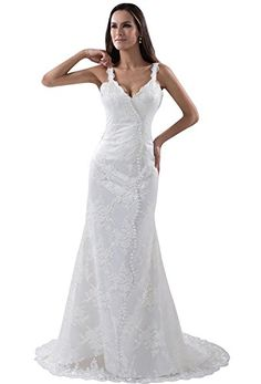 Angel Formal Dresses Womens Spaghetti Straps Mermaid Lace Wedding Dress 20 White >>> More info could be found at the image url.