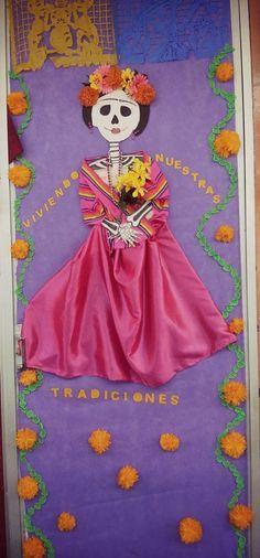 Halloween Classroom Door, Halloween Door Decorations, Halloween Themes, Spanish Classroom, Classroom Decor, Elementary Spanish, Classroom Organization, Fall Festival Games, Mexico Day Of The Dead