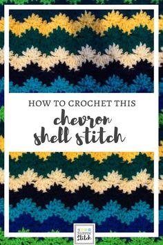 how to crochet chevron shell stitch. i love this blanket!