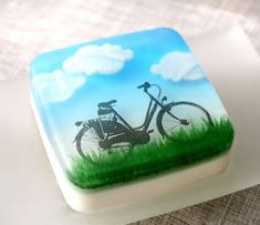 "Bicycle landscape soap by Soapylove - information about using embed or dissolving paper in glycerin or ""melt and pour"" soap crafitng"