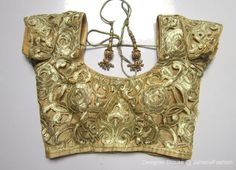Embroidery golden saree blouse, embellished Sari blouse, blouse designs for bridal sarees, fancy blouse,  full golden embroidery blouse