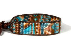 Bead Loom Bracelet Blue Turquoise Copper Chaos Tribal Leaf