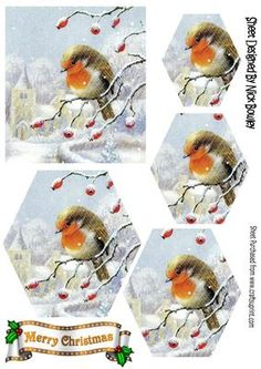Robin on a branch of berries with snow hexagon pyramids on Craftsuprint - Add To Basket!
