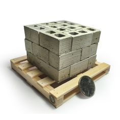 Miniature Cinder Blocks - 24PK with Pallet