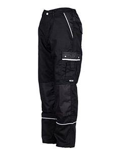 TMG® - Pantalon de travail cargo - poches pour genouillères - homme - noir (W30 R / EU46)