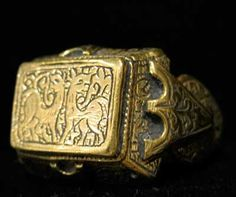 ottoman empirejewelry - Ottoman Gold Ring Incised with Animal Motifs - OS.153, Origin: Turkey, Circa: 15 th Century AD to 17 th Century AD, Collection: Jewelry, Style: Ottoman, ...