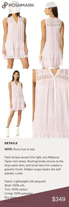 REBECCA TAYLOR Sleeveless Stripe Silk Dress Stunning dress in a gorgeous  Lavender Mist color. Features silver hidden button closures and lace trim  hem ... bdec715f8