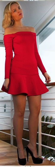 Red shoulderless   Keep The Glamour ♡ ✤ LadyLuxury ✤