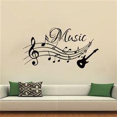 Notas musicales música pegatinas de pared de PVC extraíble sala decoración guitarra Decals Stickers(China (Mainland))