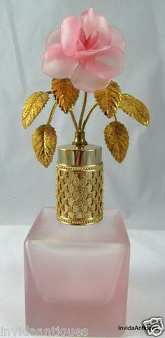 Vintage Irice Pink Glass Perfume Bottle with Gold Floral Jeweled Topper